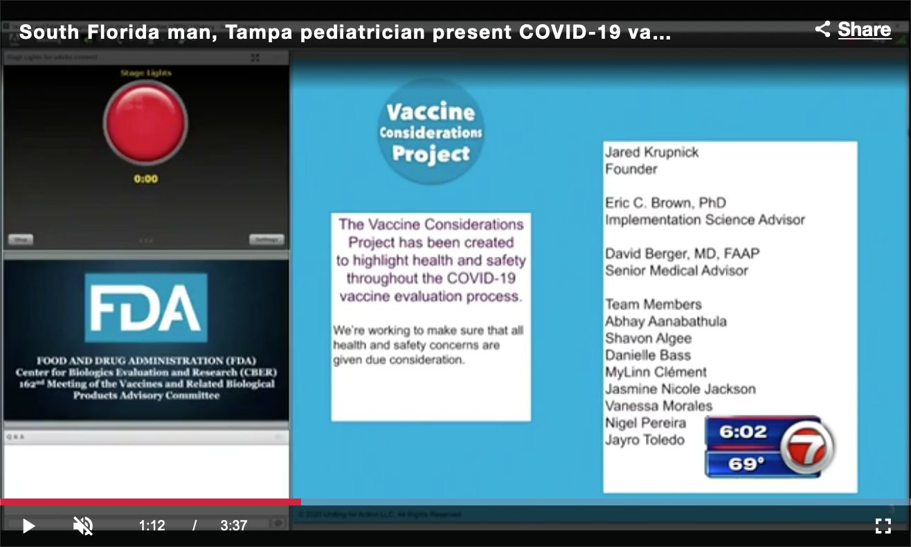 WSVN news coverage of Vaccine Considerations Project presentations to the FDA Advisory Committee on Dec. 10, 2020